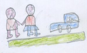 Going on holiday. Drawing by 10-year-old boy